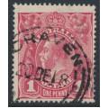 AUSTRALIA - 1918 1d carmine-rose KGV Head (G30), 'die II substituted cliché', used – ACSC # 71V(2)ja