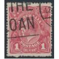 AUSTRALIA - 1918 1d carmine-rose KGV (G30), 'die II substituted cliché [late state]', used – ACSC # 71V(2)ja