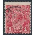 AUSTRALIA - 1918 1d carmine red (die III) KGV Head (G109), 'flaw in lower frame', used – ACSC # 75Af
