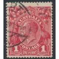 AUSTRALIA - 1918 1d carmine red (die III) KGV Head (G109), 'flaw in upper frame', used – ACSC # 75Ah