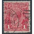 AUSTRALIA - 1918 1d deep red (die III) KGV Head (G110), 'white flaw on S', used – ACSC # 75Bm