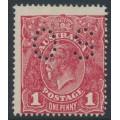 AUSTRALIA - 1918 1d carmine-red KGV (G73), perf. OS, 'die II substituted cliché', MH – ACSC # 72P(2)ja+bb