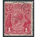AUSTRALIA - 1918 1d carmine-red (die III) KGV Head (G109), 'white flaw on S', used – ACSC # 75Am