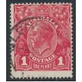 AUSTRALIA - 1918 1d carmine-red (die III) KGV Head (G109), 'flaw lower frame', used – ACSC # 75Ar