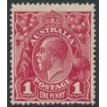 AUSTRALIA - 1918 1d carmine-red KGV Head (G31), 'RA joined', MH – ACSC # 71Y(4)j