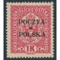 POLAND - 1919 1Kr red on yellow Austrian Arms overprinted POCZTA POLSKA, MH – Michel # 43