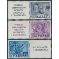 POLAND - 1948 Anniversary of the US Constitution (Roosevelt) set of 3 with tabs, MNH – Michel # 515Zf-517Zf
