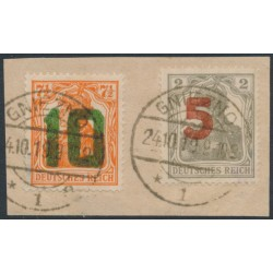POLAND - 1919 Gniezno / Poznań overprints on Germania issues set of 2 on piece, used – Michel # 135-136