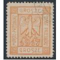 POLAND - 1917 2Gr orange-red Eagle Przedbórz local issue, used – Michel # 1A