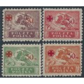 POLAND - 1921 Red Cross overprints set of 4, MH – Michel # 154-157