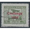 POLAND - 1934 20Gr olive Airmail overprinted Challenge 1934, used – Michel # 289