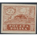 POLAND - 1919 2.50M red-brown Uhlan, imperforate on laid paper, MH – Michel # 99y