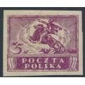 POLAND - 1919 5M purple Uhlan, imperforate on plain paper, MH – Michel # 100x