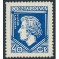 POLAND - 1927 40Gr ultramarine Chopin, MH – Michel # 244