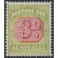 AUSTRALIA - 1938 3d carmine/green Postage Due, original die, CofA wmk, used – SG # D115