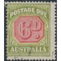 AUSTRALIA - 1938 6d carmine/green Postage Due, original die, CofA wmk, used – SG # D117