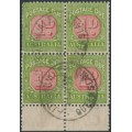 AUSTRALIA - 1932 1d red/green Postage Due, CofA watermark, block of 4 with a variety, used – SG # D106