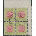 AUSTRALIA - 1938 1/- carmine/yellow Postage Due, CofA watermark, block of 4, used – SG # D118