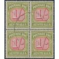 AUSTRALIA - 1947 1/- carmine/yellow Postage Due, CofA watermark, block of 4, used – SG # D128