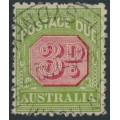 AUSTRALIA - 1936 3d carmine/green Postage Due, perf. 11, CofA watermark, used – SG # D108