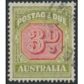 AUSTRALIA - 1938 3d carmine/green Postage Due (original die), CofA watermark, used – SG # D115