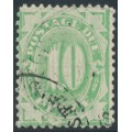 AUSTRALIA - 1902 10d green Postage Due, perf. 12:11½, crown NSW wmk, used – SG # D18