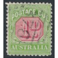 AUSTRALIA - 1914 1d rose-red/green Postage Due, perf. 11 with sideways watermark, used – SG # D78a