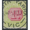 AUSTRALIA - 1919 1d carmine/yellow-green Postage Due, perf. 14:14, used – SG # D80b