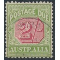 AUSTRALIA - 1909 2/- rose-red/green Postage Due, perf. 12½:12, crown A watermark, used – SG # D70