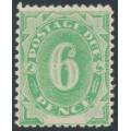 AUSTRALIA - 1902 6d emerald Postage Due, blank base, 'spot inside numeral', MH – ACSC # D9m