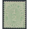 AUSTRALIA - 1907 ½d light green Postage Due, inverted crown double-lined A watermark, MH – SG # D53