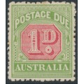 AUSTRALIA - 1909 1d rose-red/green Postage Due, crown A watermark, MH – SG # D64