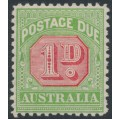 AUSTRALIA - 1914 1d rose-red/green Postage Due, sideways crown A watermark, MH – SG # D78a