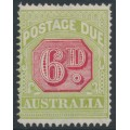 AUSTRALIA - 1922 6d carmine/yellow-green Postage Due, crown A watermark, perf. 14, MH – SG # D97