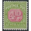 AUSTRALIA - 1930 4d carmine/yellow-green Postage Due, crown A watermark, perf. 11, MH – SG # D98