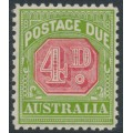AUSTRALIA - 1934 4d red/yellowish green Postage Due, CofA watermark, perf. 11, MNH – SG # D109