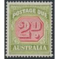 AUSTRALIA - 1938 2d carmine/pale yellow-green Postage Due, original die, CofA watermark, MNH – SG # D114