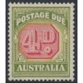 AUSTRALIA - 1938 4d carmine/deep yellow-green Postage Due, original die, CofA watermark, MNH – SG # D116