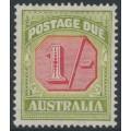 AUSTRALIA - 1938 1/- carmine/yellow-green Postage Due, original die, CofA watermark, MNH – SG # D118