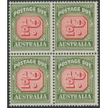 AUSTRALIA - 1959 ½d carmine/green Postage Due, no watermark, block of 4, MNH – SG # D132a