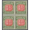AUSTRALIA - 1959 1d red/deep green Postage Due, no watermark, block of 4 with a variety, MNH – ACSC # D145d