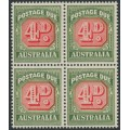 AUSTRALIA - 1958 4d red/deep green Postage Due, no watermark, block of 4, MNH – SG # D135