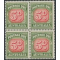 AUSTRALIA - 1958 5d red/deep green Postage Due, no watermark, block of 4, MNH – SG # D136