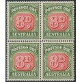 AUSTRALIA - 1958 8d red/deep green Postage Due, no watermark, block of 4, MNH – SG # D138