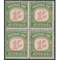 AUSTRALIA - 1958 1/- red/deep green Postage Due, no watermark, block of 4, MNH – SG # D140