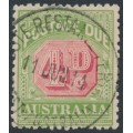 AUSTRALIA - 1909 4d rosine/yellow Postage Due, crown A watermark, used – SG # D67