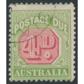AUSTRALIA - 1909 4d rosine/yellow Postage Due, crown A watermark, CTO – SG # D67