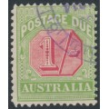 AUSTRALIA - 1909 1/- rosine/yellow Postage Due, crown A watermark, used – SG # D69