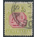AUSTRALIA - 1922 4d carmine/pale yellow-green Postage Due, crown over A wmk, perf. 14, used – SG # D96