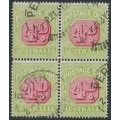AUSTRALIA - 1921 4d red/green Postage Due, crown A watermark, block of 4, perf. 14, used – SG # D83